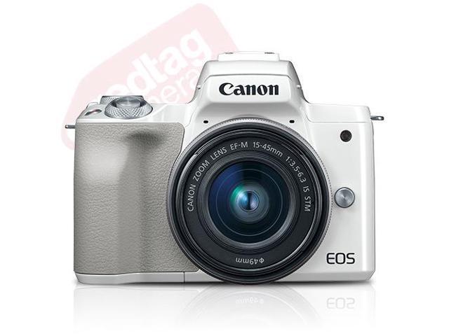 Canon EOS M50 Mirrorless Digital Camera (White) with 15-45mm Lens -  Newegg com