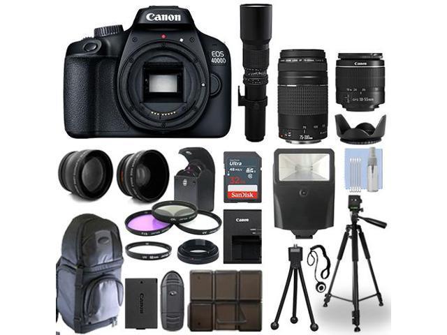Canon EOS 4000D / T100 DSLR Camera + 5 Lens Kit: 18-55mm+ 75-300mm+ 500mm & More