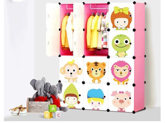 Portable Clothes Closet Wardrobe Freestanding Cute Cartoon Storage  Organizer With Doors For Kids Pink 12