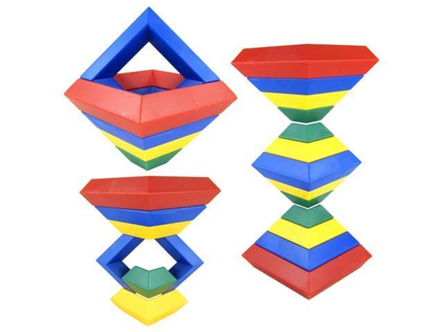 15Pcs Building Blocks Diamond Pyramid Shape Learn Kids Play Fun Toy Set Gift