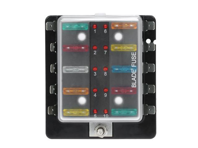 10-Way Auto Car Marine Blade Fuse Box Block Holder with LED Indicator 20Pcs Fuse