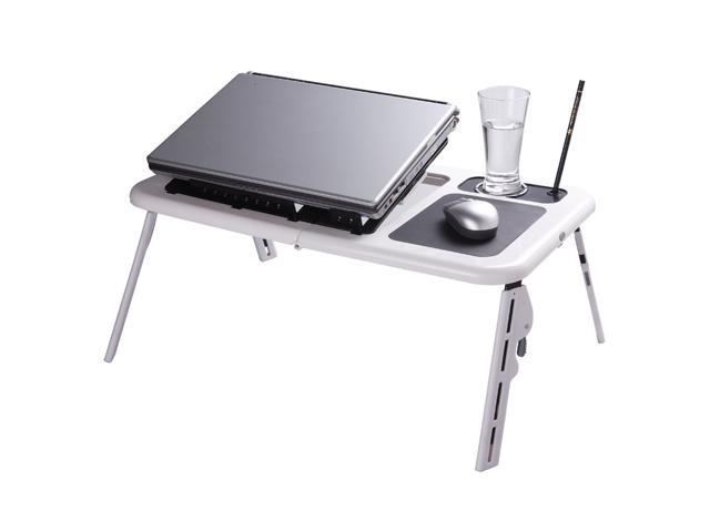 Cooling Fan /& LED Light Compact /& Adjustable Laptop Table Stand w// Mouse Pad