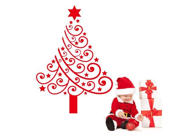 Red Christmas Tree Wall Decals Christmas Decorations Removable Pvc Stickers For Home Store Newegg Com