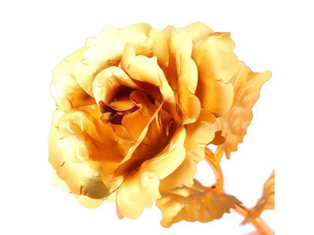 24k Gold Plated Rose Romantic Valentine S Day Gift Golden Rose Flower Newegg Com