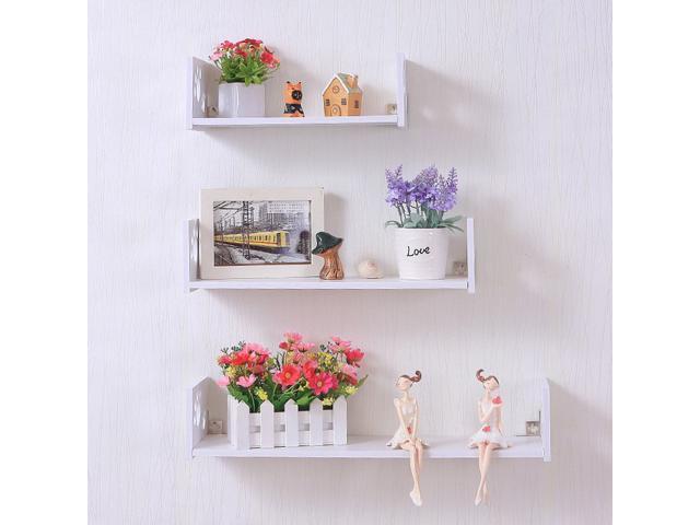 Set Of 3 White U Shaped Floating Wall Shelves Mounted Decorative Newegg