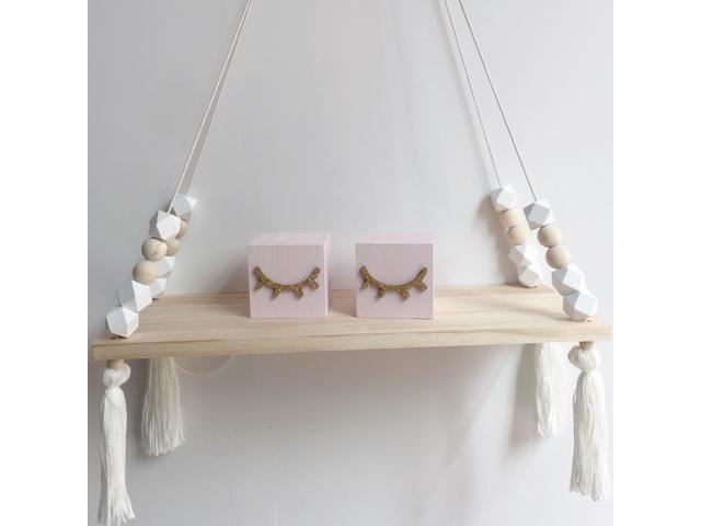 Wood Beads Wall Shelf Storage Shelves Organization DIY Bedroom Wall Shelves  Home Decor