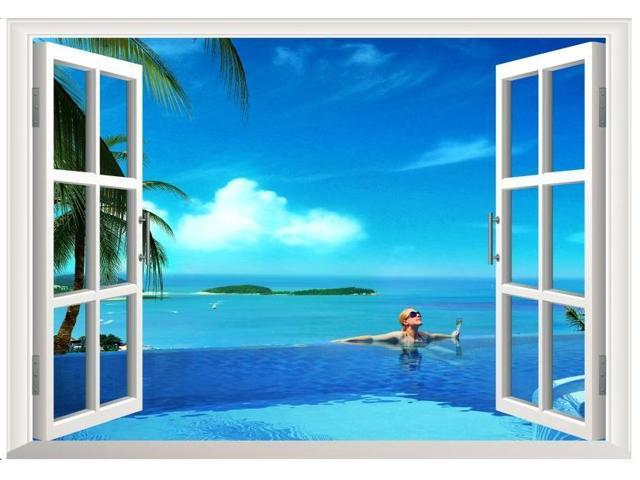 under Water 3D Window View Decal Decor Mural DIY Removable Wall Art Sticker Room