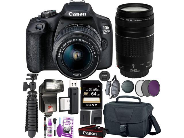 Canon EOS 2000D (Rebel t7) DSLR Camera and EF-S 18-55 mm f/3.5-5.6 IS III Lens + 75-300mm Telephoto Zoom Lens + 64GB Memory Card + Camera Bag + Cleaning Kit + Table Tripod + Flash + Filters