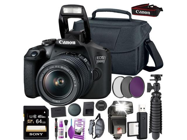 Canon EOS 2000D (Rebel t7) DSLR Camera and EF-S 18-55 mm f/3.5-5.6 IS III Lens + 64GB Memory Card + Camera Bag + Cleaning Kit + Table Tripod + Flash + Filters + Battery + Camera Strap