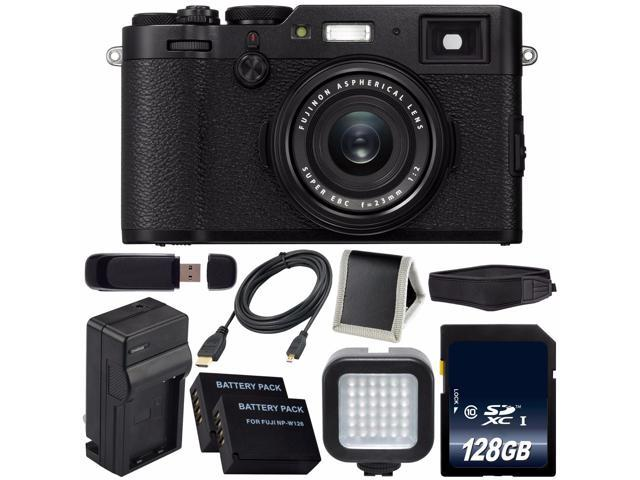 Fujifilm X100F Digital Camera (Black) International Model 16534651 +  NPW-126 Replacement Lithium Ion Battery + External Rapid Charger + 128GB  SDXC