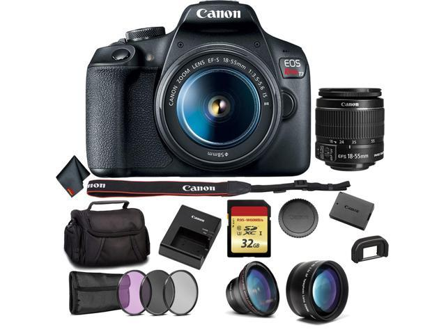 Canon Eos Rebel T7 Dslr Camera With 18 55mm Lens Bundle 3pc Filter Kit Telephoto Lens And More