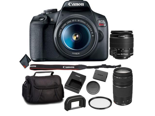 Canon Eos Rebel T7 Dslr Camera Bundle With 2 Lenses 18 55 75 300mm Lens More