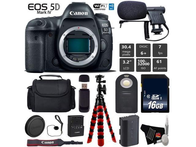 Canon EOS 5D Mark IV DSLR Camera (Body Only) + Tripod + Wireless Remote + Condenser Microphone + Case + Wrist Strap + Card Reader - Intl Model