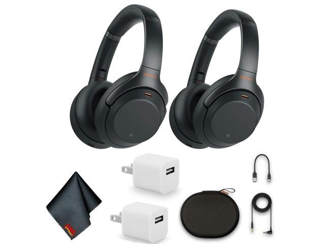 Sony WH-1000XM3 Wireless Noise-Canceling Over-Ear Headphones (Black) Bundle with 2x USB Adapters and MORE