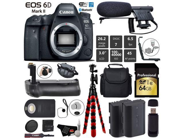 Canon EOS 6D Mark II DSLR Camera (Body Only) + Professional Battery Grip + Condenser Microphone + Extra Battery + Case + Wrist Strap + Tripod + Card Reader - Intl Model
