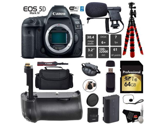 Canon EOS 5D Mark IV DSLR Camera (Body Only) + Professional Battery Grip + Condenser Microphone + Case + Wrist Strap + Tripod + Card Reader - Intl Model