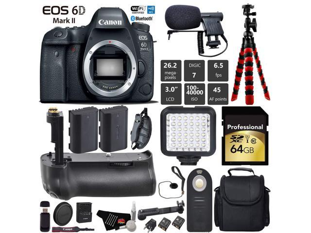 Canon EOS 6D Mark II DSLR Camera (Body Only) + Professional Battery Grip + Condenser Microphone + LED Kit + Extra Battery + Case + Wrist Strap + Tripod + Card Reader - Intl Model