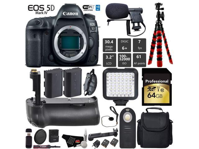 Canon EOS 5D Mark IV DSLR Camera (Body Only) + Professional Battery Grip + Condenser Microphone + LED Kit + Extra Battery + Case + Wrist Strap + Tripod + Card Reader - Intl Model