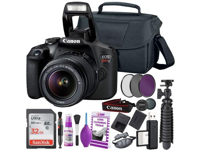 Canon EOS 2000D (Rebel t7) DSLR Camera and EF-S 18-55 mm f/3.5-5.6 IS II Lens + 64GB Memory Card + Camera Bag + Cleaning Kit + Table Tripod + Flash + Filters + Battery + Camera Strap