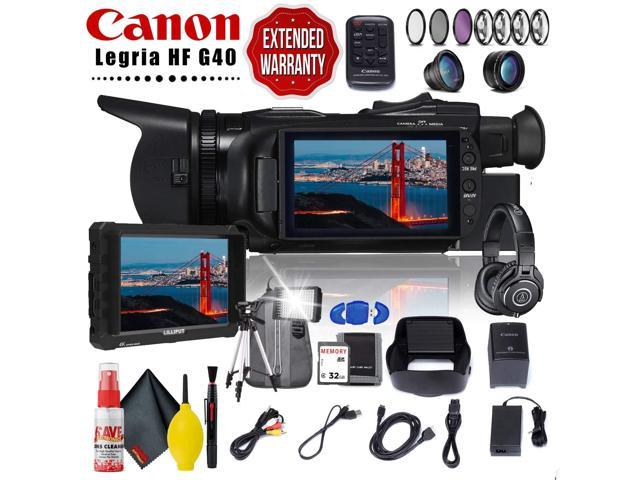 Canon Legria Hf G40 Full Hd Camcorder Pal Memory Card Kit Filter Kit Travel Kit 7 Monitor Ath M40x Studio Headphones Cleaning Kit Extended Warranty Newegg Com