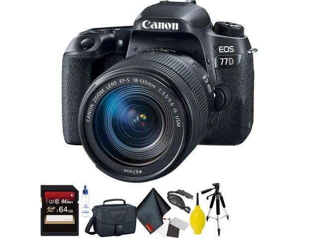 Canon EOS 77D DSLR Camera with 18-135mm USM Lens + 64GB Memory Card + Mega Accessory Kit + 1 Year Warranty