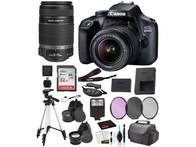 Canon EOS 4000D (Rebel T100) EF-S 18-55mm and EF-S 55-250mm Lens Bundle –SanDisk 32gb + Filters + MORE - International