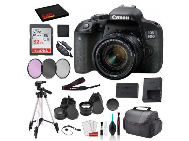 Canon EOS 800D (Rebel T7i) 18-55mm IS STM Lens Bundle –SanDisk 32gb SD Card + 3PC Filter Kit + MORE - International