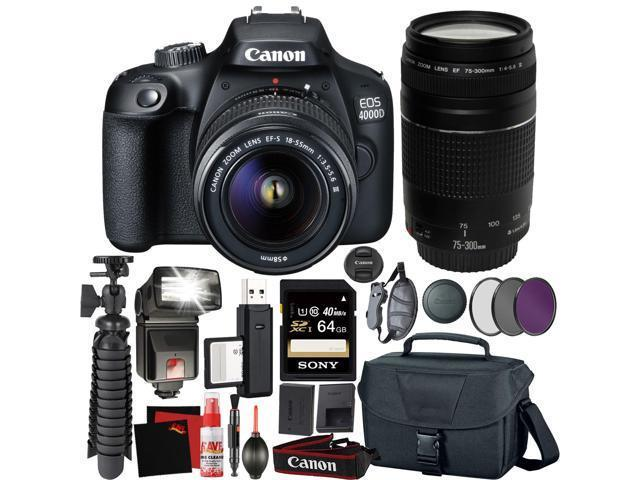 EOS 4000D SLR Camera Kit with EF-S 18-55 mm III Lens//64 GB SD Card Case and Uv Filter Canon