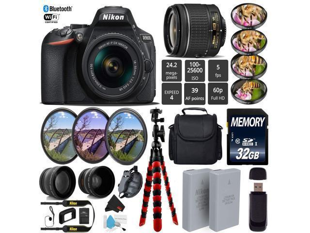 Nikon D5600 DSLR Wi-FI NFC 24.2MP DX CMOS Camera AF-P 18-55mm VR Lens + Wide Angle & Telephoto Lens + LED Light kit + 7PC Filter Kit + Camera Case - (Intl Model)