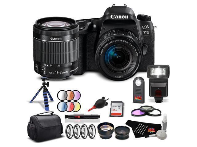 Canon EOS 77D DSLR Camera (Body Only) with Canon EF-S 18-55mm f/3.5-5.6 IS STM Lens Starter Kit International Model