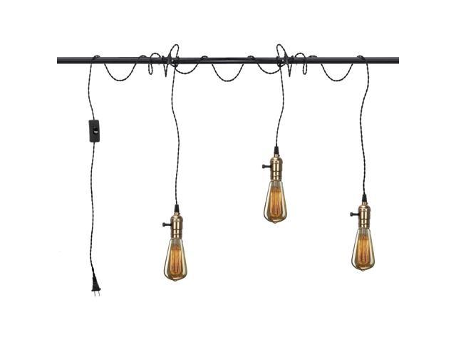 Vintage Pendant Light Kit Cord With Switch And Triple E26 E27 Industrial Light Socket Lamp Holder 25ft Twisted Black Cloth Bulb Cord Plug In Hanging