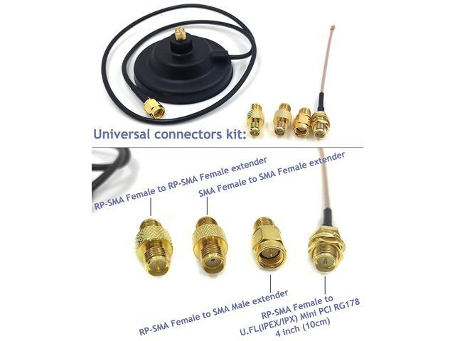 Universal Kit Dual Band Wi-Fi 9dbi Booster Long Range Omni Directional 2.4//5Ghz Antenna RP-SMA Male Connector on Magnet Base with connectors and Extenders