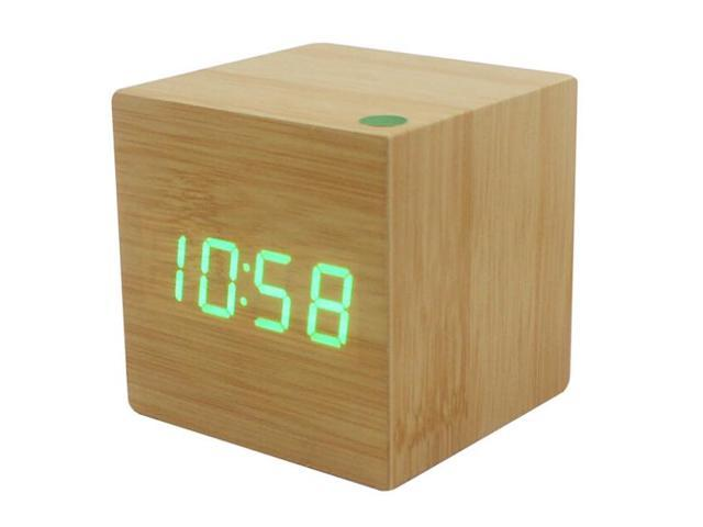 Wood Cube Led Alarm Control Digital Desk Clock Wooden Style Room Temperature Bamboo Wood Green Led Clocks