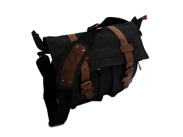 a263163c2a0 THZY MUCHUAN Men's Vintage Canvas Leather School Military Shoulder Bag  Messenger Sling Crossbody Bag Satchel-Carbon black - Newegg.com