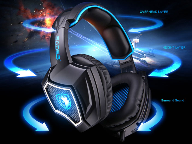 f0da17c823f SADES Spirit Wolf USB Gaming Headset 7.1 Surround Sound Stereo Headphone  with Mic,Over-the-Ear Noise Isolating, Noise canceling earphone