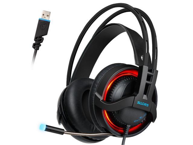 7.1 Surround Sound Computer Gaming Headphones PC Headset with Noise Canceling Mic Volume Control LED Light for PC Mac Laptop Quick Life Gaming Headset