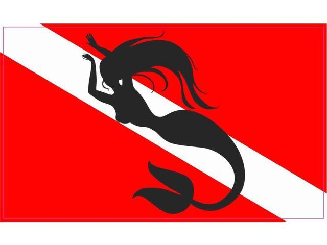 5x3 diver down with a mermaid flag bumper sticker decal window stickers car decals
