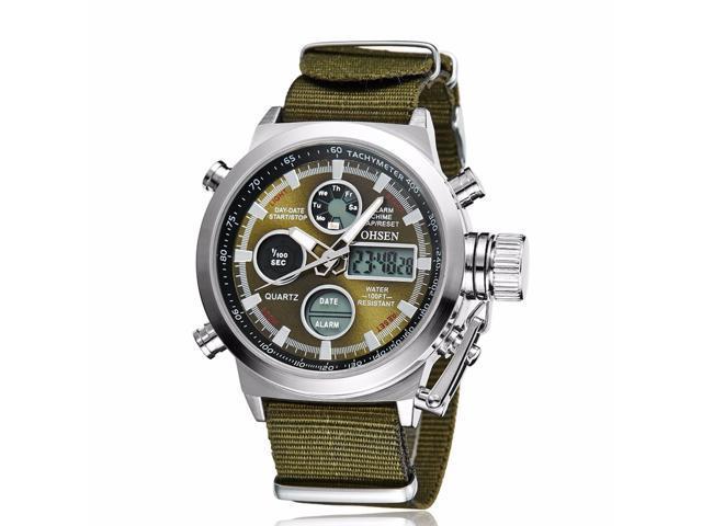 Men Military Army Green Analog Digital Quartz Nylon Canvas Wrist Watch Sport