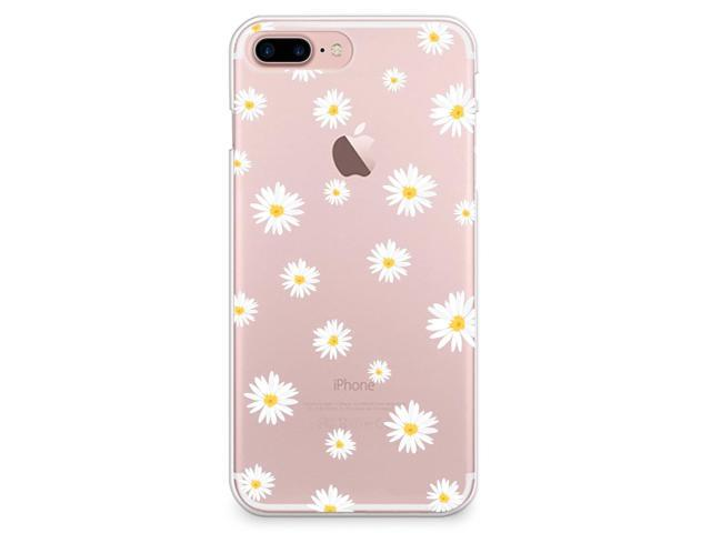 iPhone 8 Plus Case, iPhone 7 Plus Case, CasesByLorraine Cute Daisy Floral Flowers Clear Transparent Case Slim Hard Plastic Back Cover for Apple iPhone