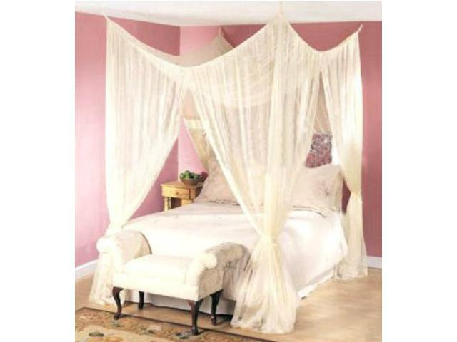 Dreamma 4 Post Bed Canopy Four Corner Mosquito Bug Net Queen King Size Insect Canapy Bedroom Curtain Fly Netting Mesh
