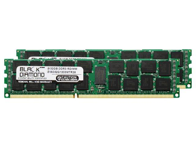 2x16GB 32GB PC3-10600R 1333MHz DDR3 ECC Reg Memory Dell PowerEdge R710 Server