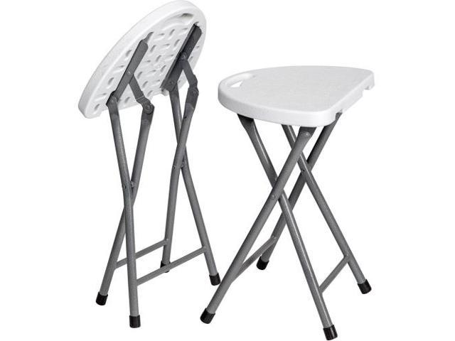 Incredible Folding Stool Set Of 2 Portable Plastic Chair 18 Inch White Creativecarmelina Interior Chair Design Creativecarmelinacom
