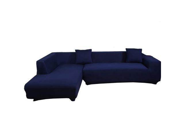 2PCS Stretch 3 Seater Sofa Cover Solid Color Sofa Slipcover L-Shaped  Sectional Sofa Couch Cover Furniture Protector