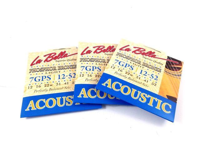 la bella guitar strings 3 pack acoustic phosphor bronze custom light 12 52. Black Bedroom Furniture Sets. Home Design Ideas