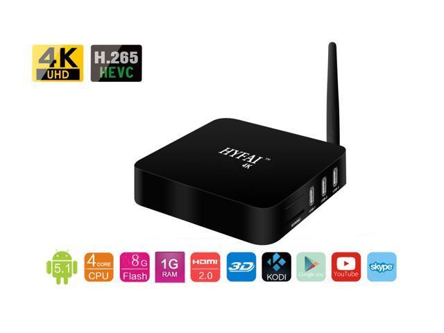Hyfai QR6 Android 5 1 Lollipop, Rockchip RK3229, HDMI 2 0, External  antenna, 2 4G Smart TV Box 1G+8G H 265 4K HD Media Streaming Player with  Kodi 16 1