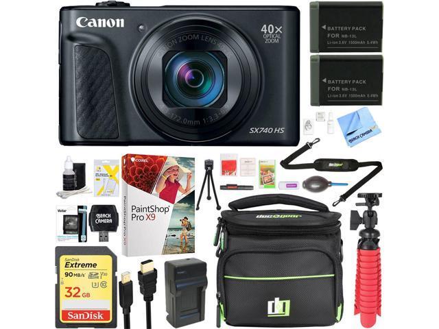 Canon Powershot Sx740 Hs 20 3mp Digital Camera Black Spare Battery Accessory Kit Newegg Com