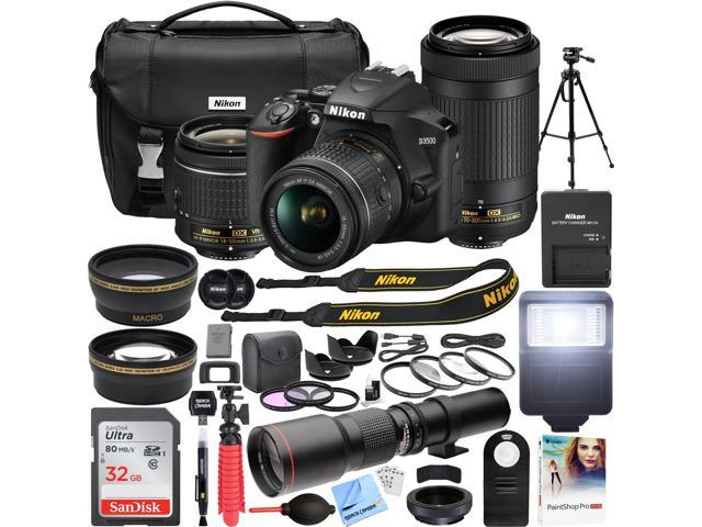 Nikon D3500 DSLR Camera + 18-55mm VR + 70-300mm 2 Lens Kit + 500mm Telephoto Bundle