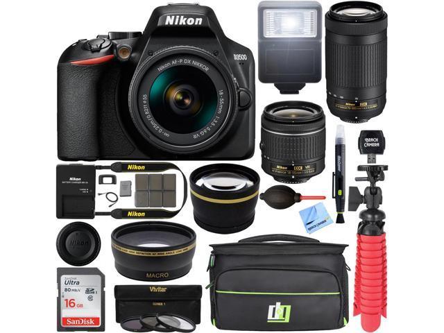 Nikon D3500 DSLR Camera w/ 18-55mm & 70-300mm Zoom Lens (Renewed) w/ 16GB Bundle