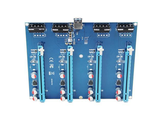 PCIe 1 to 4 PCI Express 1X Slots Riser Card Mini ITX to External 4 PCI-e