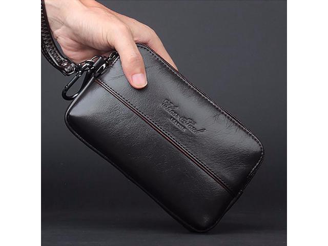 d9d8530fa8b 100% Genuine Cow Leather Men Clutch Bag Wrist Handbags Multi-purpose Loop  Belt Waist Bags Purse Cell/Mobile Phone Holder Wallet - Newegg.ca
